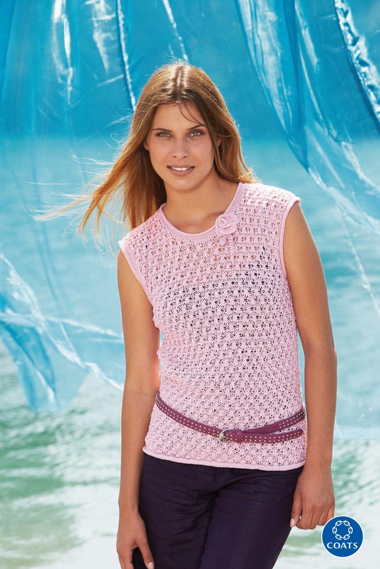 1153df8039 Rózsaszín ujjatlan top Catania fine fonalból, nyári viselet