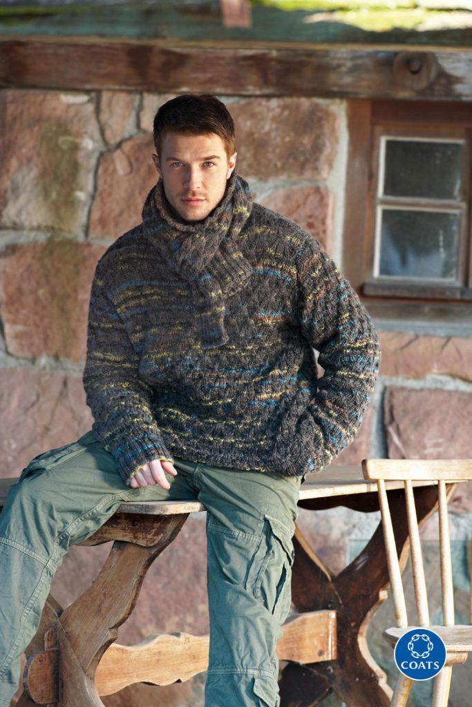 Férfi pulóver és sál kötésminta-201 PDF