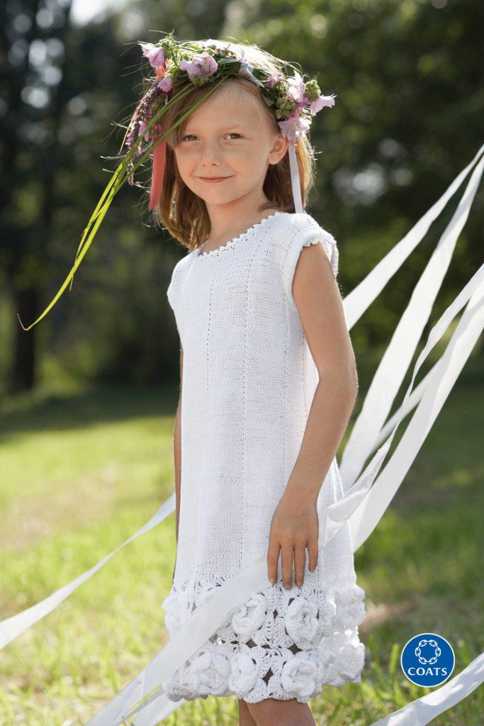 Kötött-horgolt kislány ruha Catania fonalból- minta