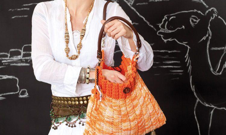 Narancssárga kötött táska