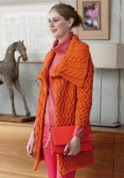 834 Narancssárga csavart mintás kabát