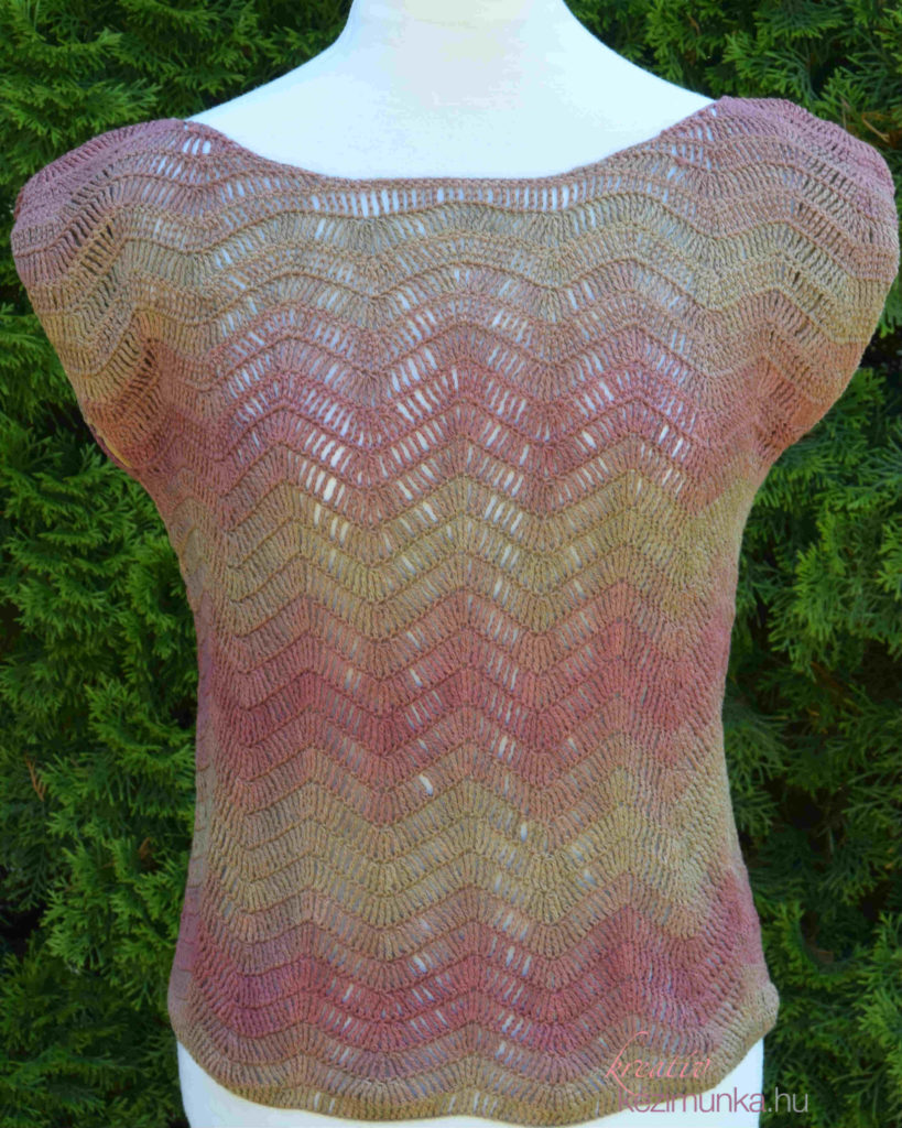 723a41de98 Kötött felső Tahiti fonalból hullám mintával, Lana blogjában