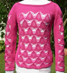 Hálómintás kötött pulóver