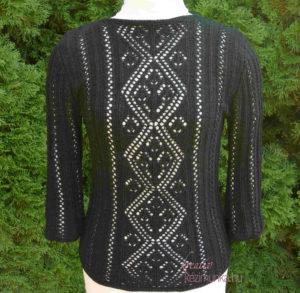 fekete azsúrmintás kötött pulóver