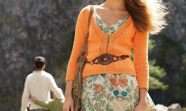 Narancssárga női pulóver - leírás és mintarajz - 72 PDF