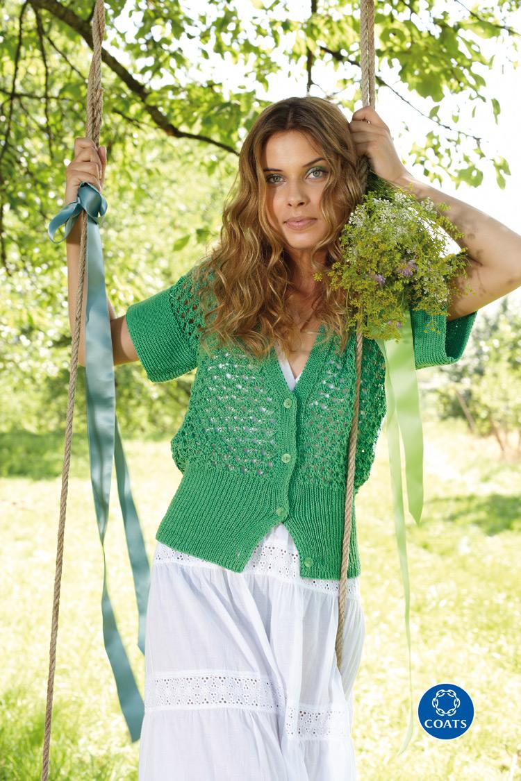 Zöld női kardigán Catania fonalból - mintaleírás