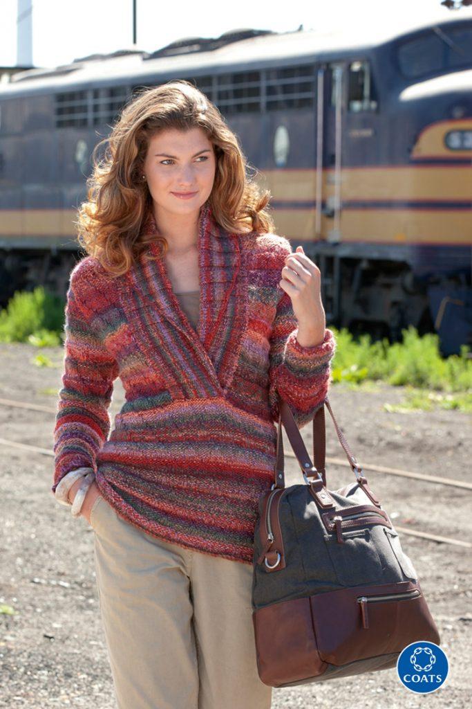 Sálgalléros női pulóver Colorful fonalból-450 PDF