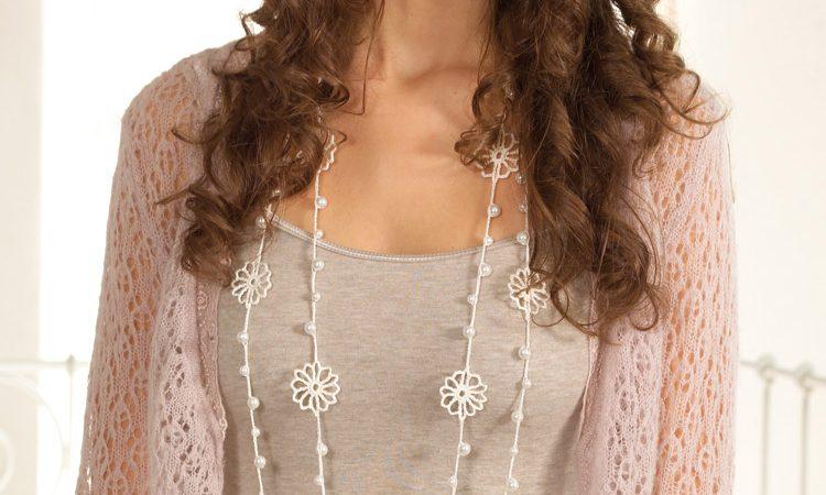 Horgolt nyaklánc gyöngyökkel - leírás