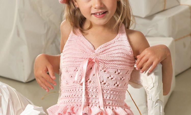 Rózsaszín kislány top Catania fonalból leírás