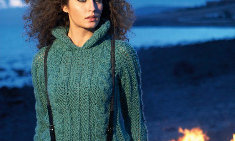 Zöld pulóver dupla gallérral