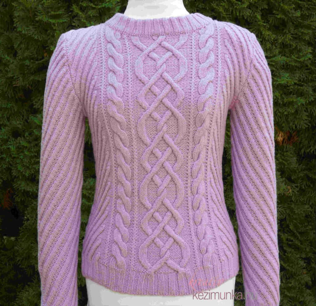 Kötött csavart mintás pulóver elkészítésének leírása