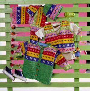 norvégmintás baba pulóver